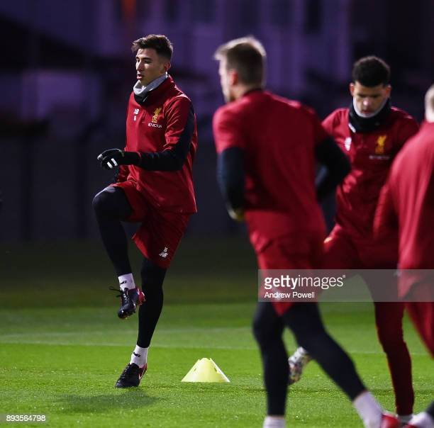 Marko Grujic of Liverpool during a training session at Melwood Training Ground on December 15 2017 in Liverpool England
