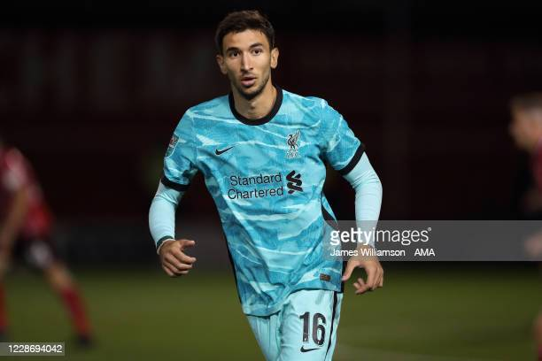 Marko Grujic of Liverpool during the Carabao Cup Third Round match between Lincoln City and Liverpool at Sincil Bank Stadium on September 24, 2020 in...
