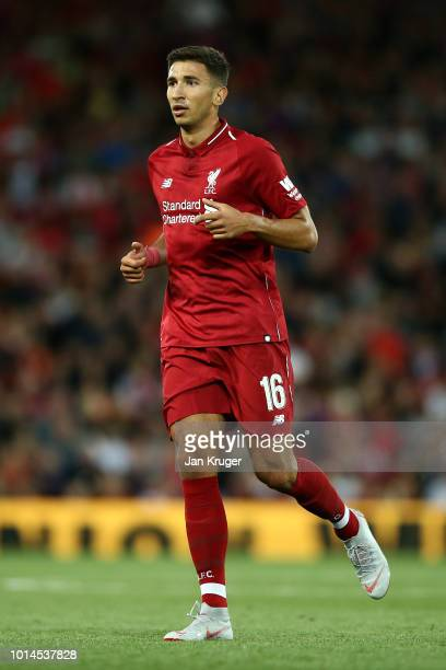 Marko Grujic of Liverpool during the friendly match between Liverpool and Torino at Anfield on August 7, 2018 in Liverpool, England.