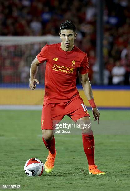 Marko Grujic of Liverpool in action against Chelsea during the 2016 International Champions Cup at Rose Bowl on July 27 2016 in Pasadena California