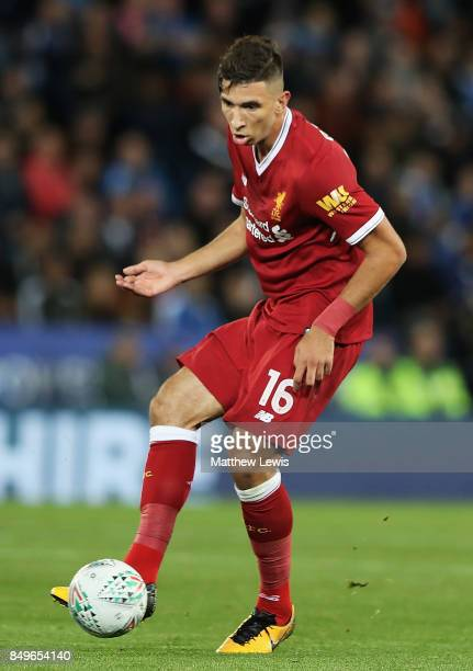 Marko Grujic of Liverpool in action during the Carabao Cup Third Round match between Leicester City and Liverpool at The King Power Stadium on...