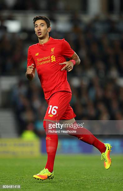 Marko Grujic of Liverpool in action during the EFL Cup Third Round match between Derby County and Liverpool at iPro Stadium on September 20 2016 in...