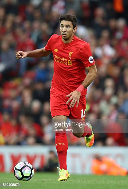 Marko Grujic of Liverpool in action during the Premier League match between Liverpool and Hull City at Anfield on September 24 2016 in Liverpool...