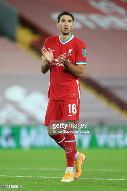 Marko Grujic of Liverpool looks on during the Carabao Cup Fourth Round match between Liverpool and Arsenal at Anfield on October 1, 2020 in...