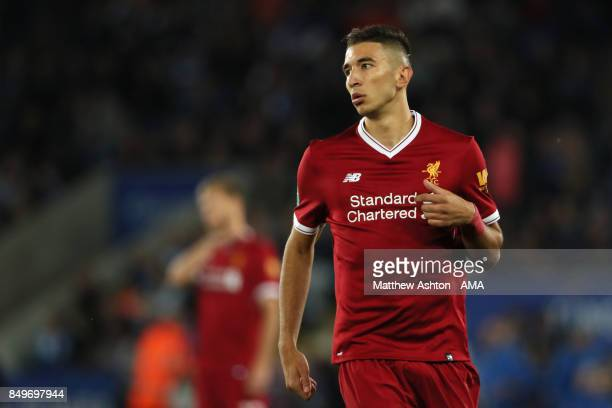Marko Grujic of Liverpool looks on during the Carabao Cup third round match between Leicester City and Liverpool at The King Power Stadium on...