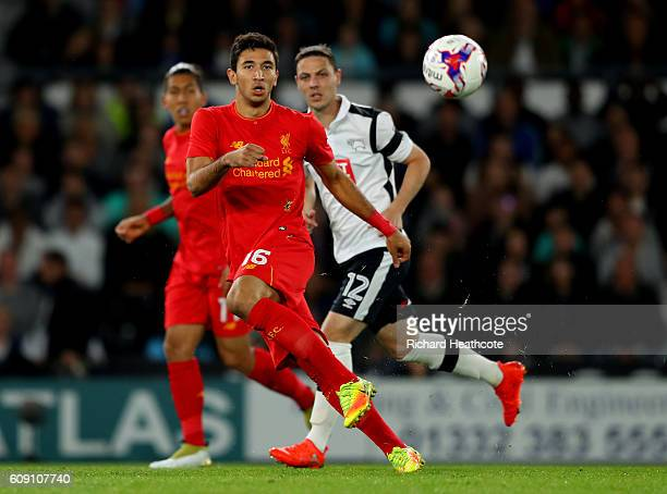Marko Grujic of Liverpool passes during the EFL Cup Third Round match between Derby County and Liverpool at iPro Stadium on September 20 2016 in...