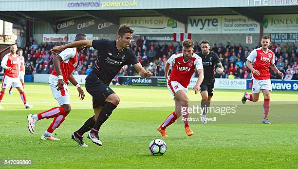 Marko Grujic of Liverpool powers through during the PreSeason Friendly match bewteen Fleetwood Town and Liverpool at Highbury Stadium on July 13 2016...