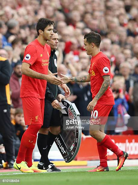 Marko Grujic of Liverpool replaces Philippe Coutinho of Liverpool as substitute during the Premier League match between Liverpool and Hull City at...