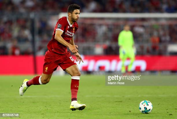 Marko Grujic of Liverpool runs with the ball during the Audi Cup 2017 match between Liverpool FC and Atletico Madrid at Allianz Arena on August 2...