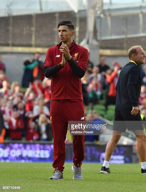Marko Grujic of Liverpool shows his appreciation to the fans at the end of the pre season friendly match between Liverpool and Athletic Bilbao at...