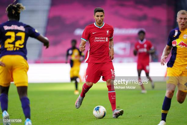Marko Grujic of Liverpool takes the ball into the attacking zone during the friendly match between FC Red Bull Salzburg and FC Liverpool at Red Bull...