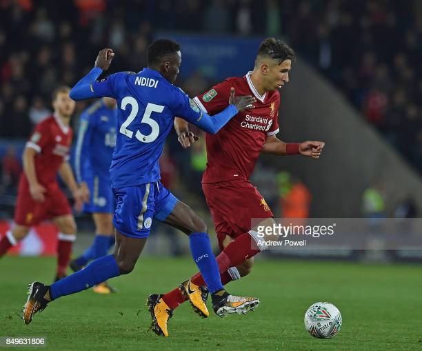 Marko Grujic of Liverpool with Wilfred Ndidi of Leicester during the Carabao Cup third round match between Leicester City and Liverpool at The King...