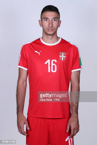 Marko Grujic of Serbia poses for a portrait during the official FIFA World Cup 2018 portrait session at the Team Hotel on June 12 2018 in Kaliningrad...