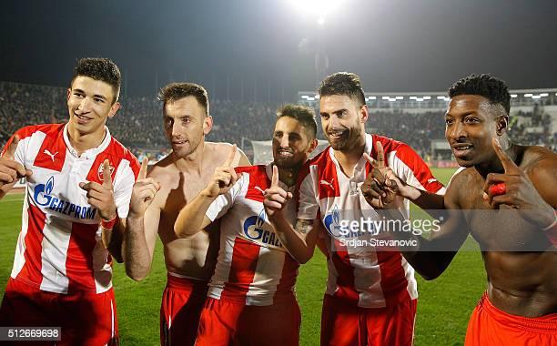 Marko Grujic Savo Pavicevic Hugo Oliveira Vieira Damien Le Tallec and Mitchell Donald of FK Crvena Zvezda celebrate victory after the Serbian Super...