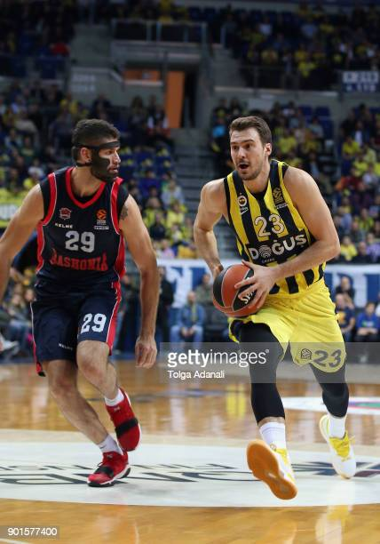 Marko Guduric #23 of Fenerbahce Dogus and Patricio Garino #29 of Baskonia Vitoria Gasteiz in action during the 2017/2018 Turkish Airlines EuroLeague...