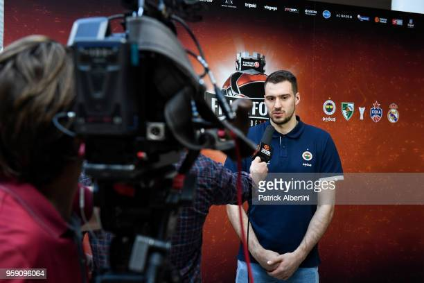 Marko Guduric #23 of Fenerbahce Dogus Istanbul during the Fenerbahce Dogus Istanbul Arrival to participate of 2018 Turkish Airlines EuroLeague F4 at...