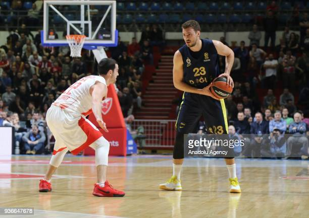 Marko Guduric of Fenerbahce Dogus in action against Taylor Rochestie of Crvena Zvezda during the Turkish Airlines Euroleague week 28 basketball match...