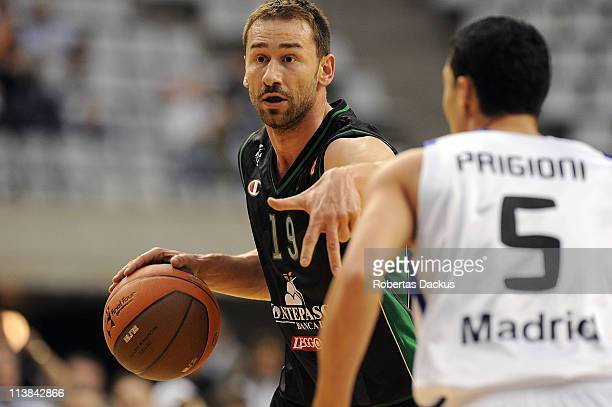 Marko Jaric #19 of Montepaschi Siena in action during the 3rd Place Playoff Turkish Airlines Final Four game between Real Madrid vs Montepaschi Siena...