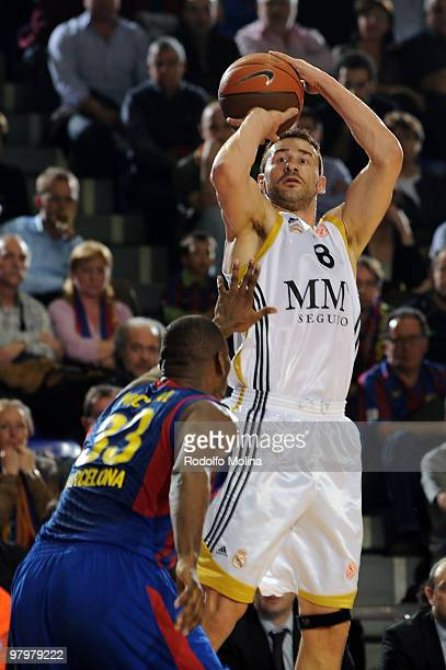 Marko Jaric #8 of Real Madrid in action during the Euroleague Basketball 20092010 Play Off Game 1 between Regal FC Barcelona vs Real Madrid at Palau...