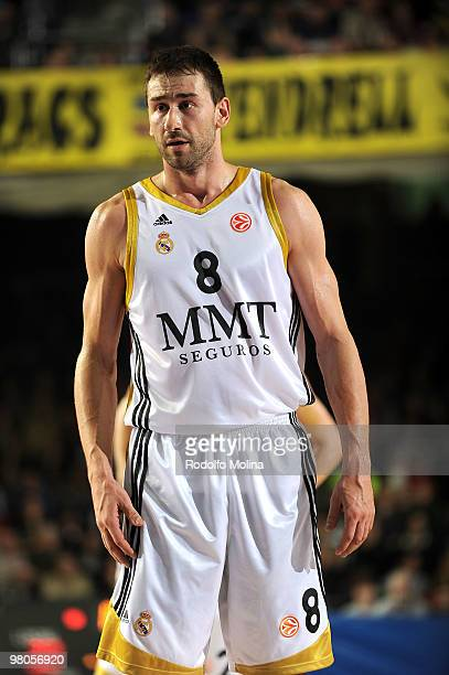 Marko Jaric #8 of Real Madrid in action during the Euroleague Basketball 20092010 Play Off Game 2 between Regal FC Barcelona vs Real Madrid at Palau...