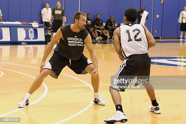 Marko Jaric and Jorge Gutierrez of the Brooklyn Nets practice during NBATV's Real Training Camp in Durham North Carolina NOTE TO USER User expressly...