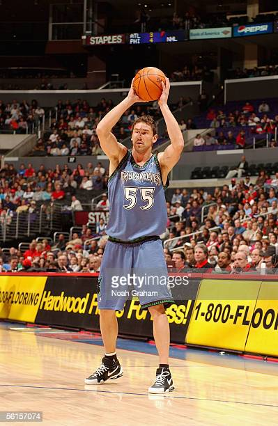 Marko Jaric of the Minnesota Timberwolves looks for an open pass during the game against the Los Angeles Clippers at Staples Center on November 5...