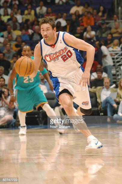 Marko Jaric#20 of the Los Angeles Clippers moves the ball against the New Orleans Hornets on April 16 2005 at the Staples Center in Los Angeles...