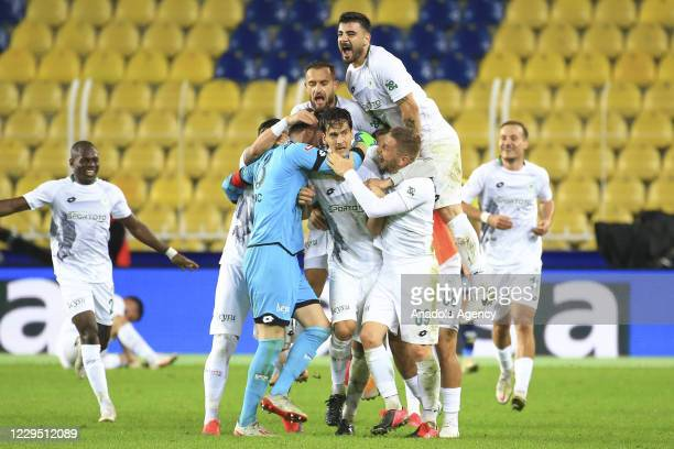 Marko Jevtovic of Ittifak Holding Konyaspor celebrates after scoring a goal during Turkish Super Lig soccer match between Fenerbahce and Ittifak...