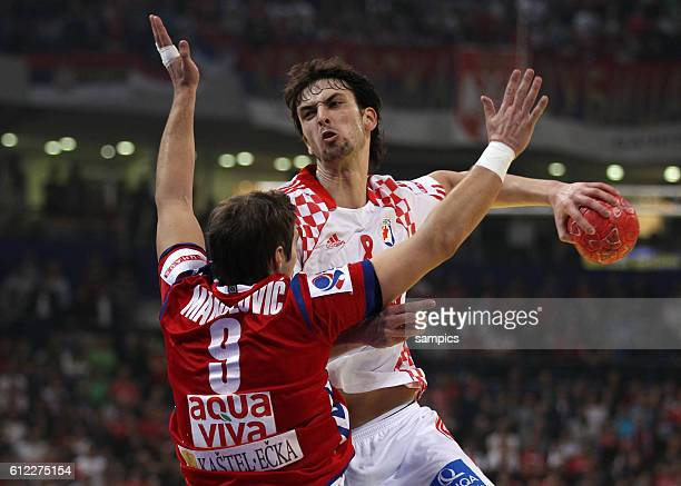 Marko KOPLJAR , Nikola MANOJLOVIC Handball Männer Europameisterschaft 2012 Halbfinale : Serbien - Kroatien 10 th mens european championchip in Serbia...