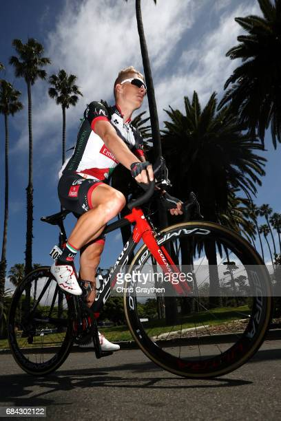 Marko Kump of Slovenia riding for UAE Team Emirates rides to the start prior to stage four of the AMGEN Tour of California from Santa Barbara to...
