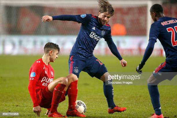 Marko Kvasina of FC Twente Lasse Schone of Ajax during the Dutch KNVB Beker match between Fc Twente v Ajax at the De Grolsch Veste on December 20...