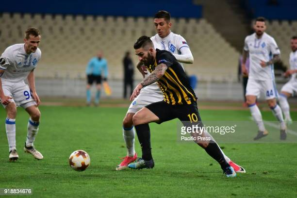 OACA 'SPIROS LOUIS' ATHENS ATTIKI GREECE Marko Livaja of AEK tries to avoid player of Dynamo Kyiv After an exciting football match AEK and Dynamo...