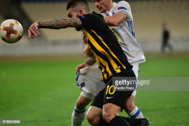 OACA 'SPIROS LOUIS' ATHENS ATTIKI GREECE Marko Livaja of AEK tries to hold the possession of the ball during the match After an exciting football...