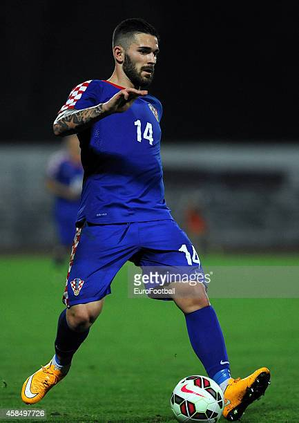 Marko Livaja of Croatia in action during the UEFA U21 Championship Playoff Second Leg match between Croatia and England at the Stadion Hnk Cibalia on...