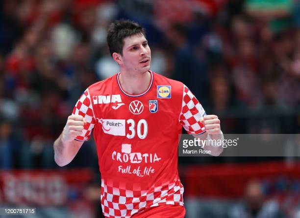 Marko Mamić of Croatia celebrates during the Men's EHF EURO 2020 main round group I match between Croatia and Czech Republic at Wiener Stadthalle on...