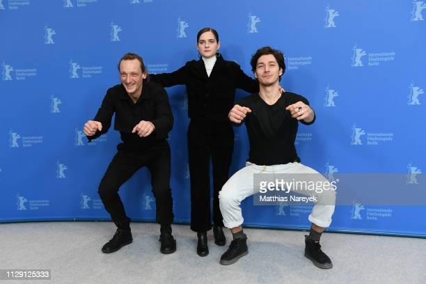 Marko Mandic Vanessa Loibl and Noah Saavedra pose at the O Beautiful Night photocall during the 69th Berlinale International Film Festival Berlin at...