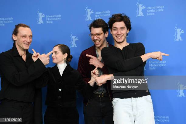 Marko Mandic Vanessa Loibl Xaver Boehm and Noah Saavedra pose at the O Beautiful Night photocall during the 69th Berlinale International Film...