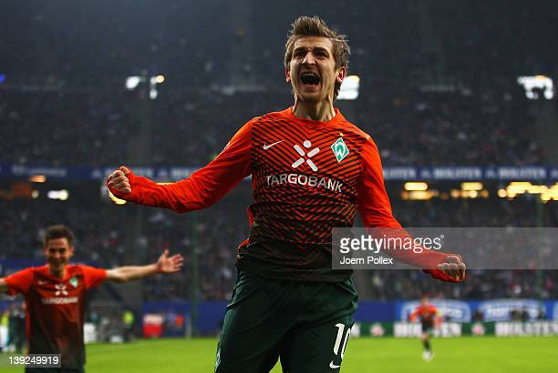 Marko Marin of Bremen celebrates after scoring his team's first goal during the Bundesliga match between Hamburger SV and SV Werder Bremen at Imtech...