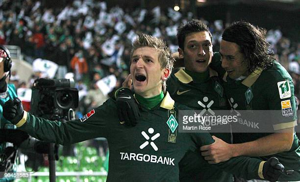 Marko Marin of Bremen celebrates after scoring the opening goal during the Bundesliga match between Werder Bremen and Hertha BSC Berlin at the Weser...