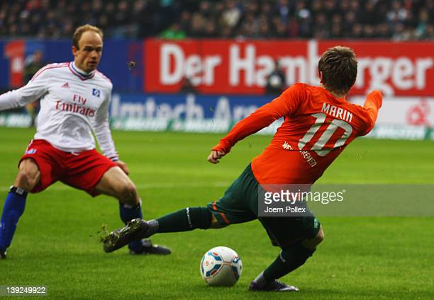 Marko Marin of Bremen scores his team's first goal during the Bundesliga match between Hamburger SV and SV Werder Bremen at Imtech Arena on February...
