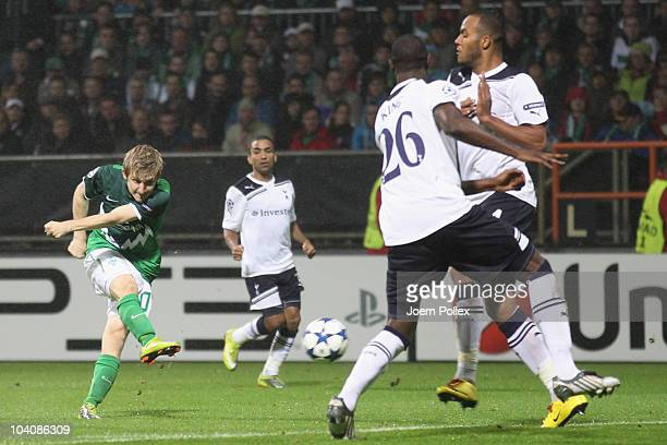 Marko Marin of Bremen scores his team's second goal during the UEFA Champions League group A match between SV Werder Bremen and Tottenham Hotspur at...