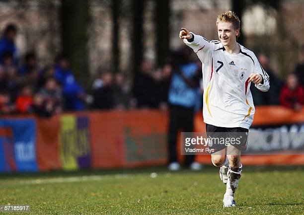 Marko Marin of Germany celebrates after scoring the 2nd goal during the Men's Under 17 European Championship qualifier match between Germany and...
