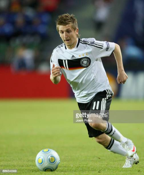 Marko Marin of Germany controls the ball during the UEFA U21 Championship Group B match between Germany and England at the Oerjans vall stadium on...