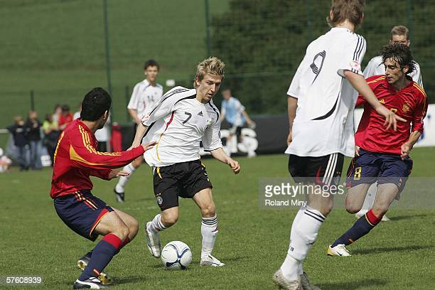 Marko Marin of Germany vies for the ball with Alonso Soria of Spain during the UEFA Under 17 European Championship match for third place between...