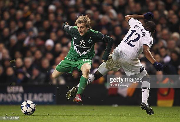 Marko Marin of Werder Bremen evades a challenge by Wilson Palacios of Tottenham Hotspur during the UEFA Champions League Group A match between...