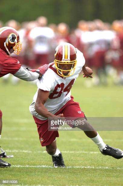 Marko Mithcell, the Washington Redskins seventh round draft pick, runs through drills during minicamp on May 1, 2009 at Redskins Park in Ashurn,...
