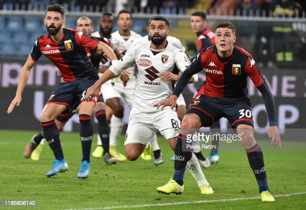 Marko Pajac Andrea Favilli of Genoa CFC and Tomas Rincon of Torino FC wait for the ball during the Serie A match between Genoa CFC and Torino FC at...