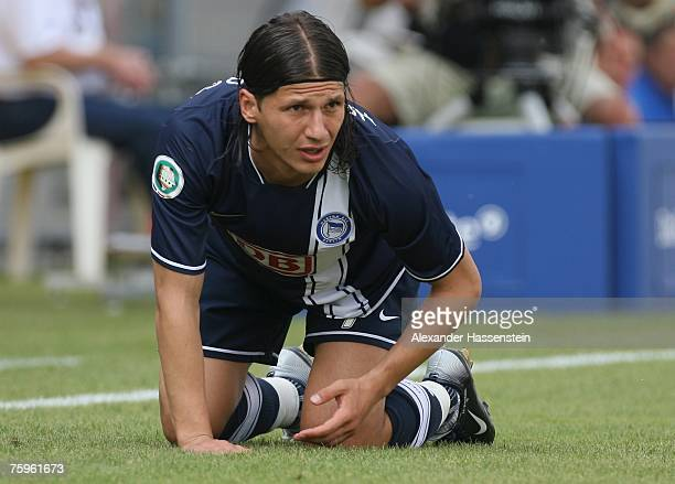 Marko Pantelic of Berlin looks on during the German Football Association Cup first round match between SpVgg Unterhaching and Hertha BSC Berlin at...
