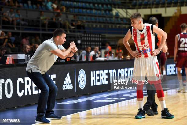 Marko Pavicevic #4 of U18 Crvena Zvezda mts Belgrade listen to the coach during the Adidas Next Generation Tournament game between U18 FC Bayern...