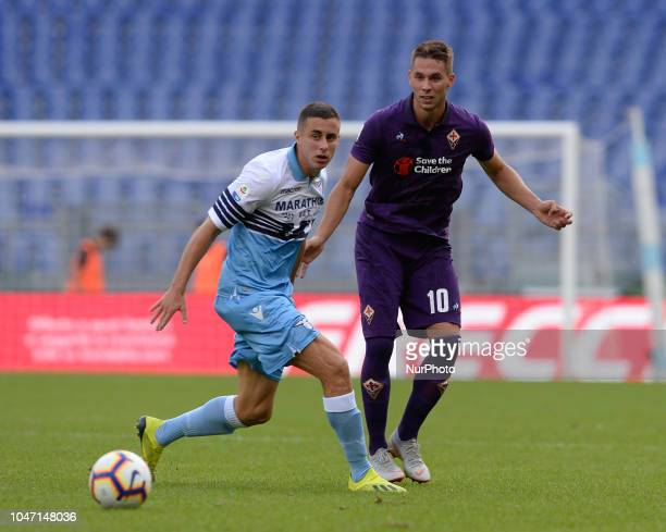 Marko Pjaca and Adam Marusic during the Italian Serie A football match between SS Lazio and Fiorentina at the Olympic Stadium in Rome on october 07...
